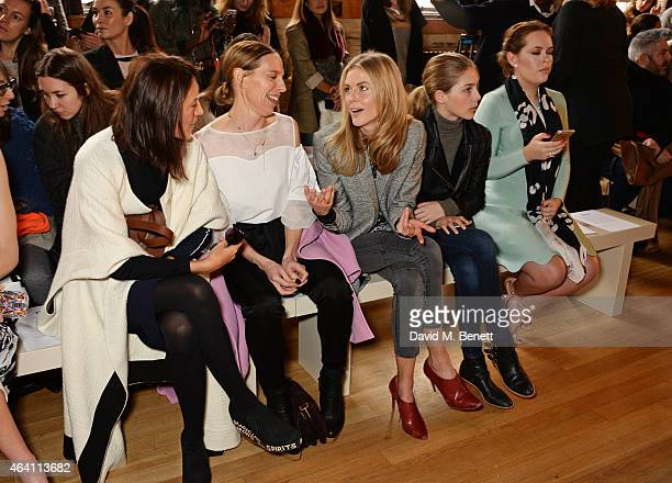 Hikari Yokoyama Tiphaine de Lussy Donna Air daughter Freya Air Aspinall and Tanya Burr attend the ISSA Autumn/Winter 2015 Runway Show during London...