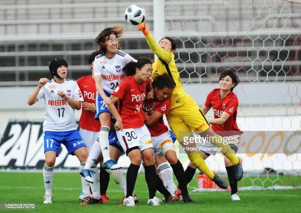 Hikaru Kitagawa of Albirex Niigata Ladies scores her team's second goal during the Nadeshiko League match between Urawa Red Diamonds Ladies and...