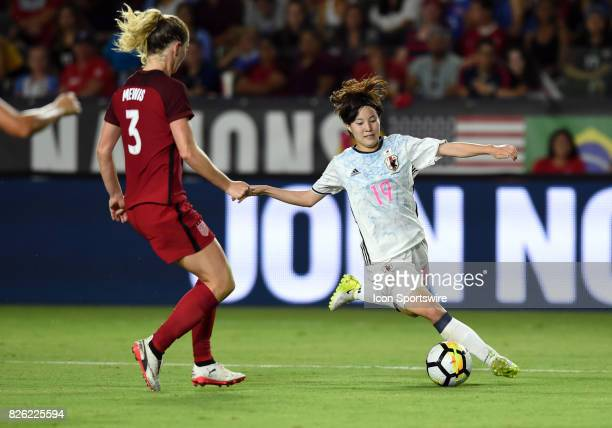 Hikaru Kitagawa of Japan sets up to take a shot during the Tournament of Nations soccer match between USA and Japan on August 03 2017 at StubHub...