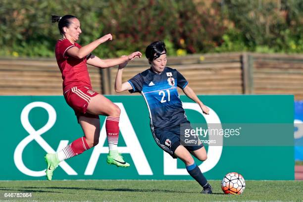 Hikaru Kitagawa of Japan Women challenges Marta Corredera Rueda of Spain Women during the match between Japan v Spain Women's Algarve Cup on March 1...