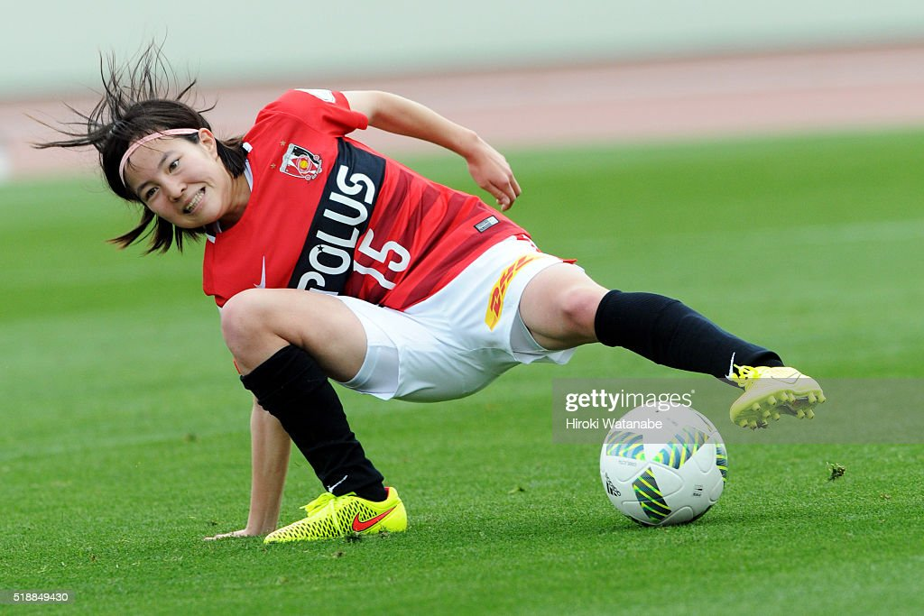 Hikaru Kitagawa of Urawa Reds in action during the Nadeshiko League match between Urawa Red Diamonds Ladies and Albirex Niigata Ladies at the Saitama Komaba Stadium on April 3, 2016 in Saitama, Japan.