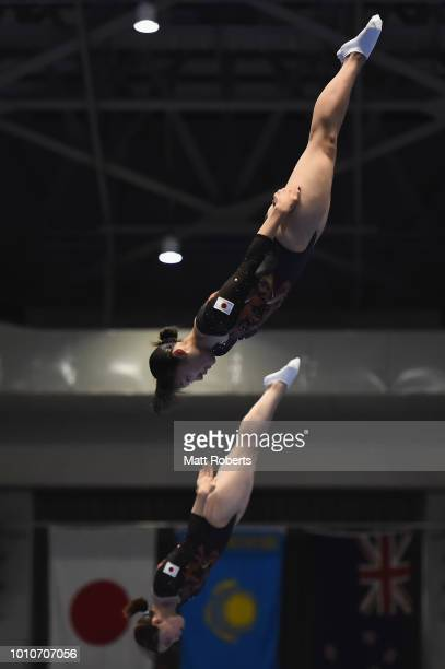 Hikaru Mori and Chisato Doihata of Japan compete during the Women's Synchro on day one of the Trampoline World Cup at Yamato Citizens Gymnasium...