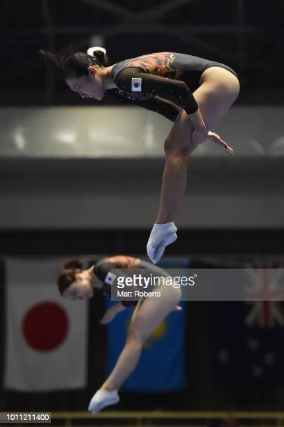 Hikaru Mori and Chisato Doihata of Japan compete during the Women's Synchronised Final on day two of the Trampoline World Cup at Yamato Citizens...