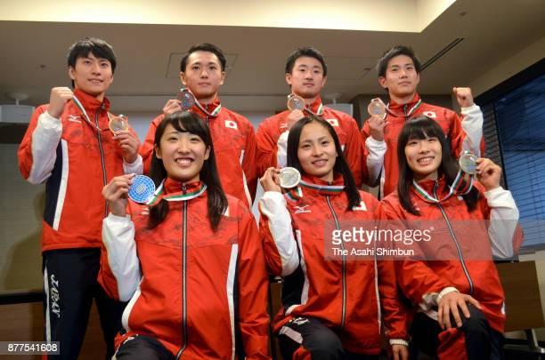 Hikaru Mori Ayano Kishi and Yumi Takagi Ginga Munetomo Masaki Ito Daiki Kishi and Ryosuke Sakai pose for photographs during a press conference on...