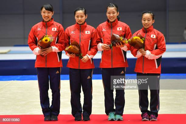 Hikaru Mori Ayano Kishi Yumi Takagi and Saori Nakura pose for photographs as they selected as members of Japan national team after the day two of the...