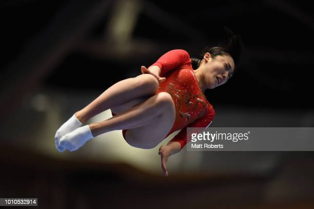 Hikaru Mori of Japan competes during the Women's Individual on day one of the Trampoline World Cup at Yamato Citizens Gymnasium Maebashi on August 4,...