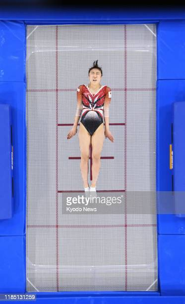 Hikaru Mori of Japan competes in the women's individual qualifications during the trampoline world championship in Tokyo on Nov. 28, 2019.