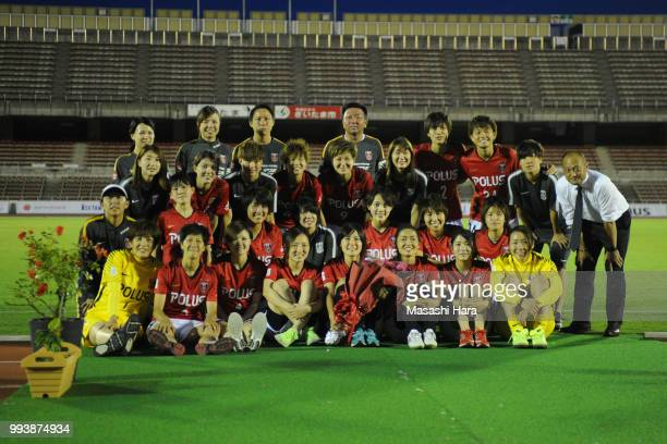 Hikaru Naomoto and players of Urawa Red Diamonds pose for photograph after the Nadeshiko League Cup Group A match between Urawa Red Diamonds and NTV...