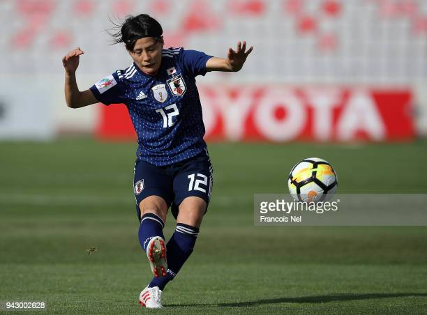 Hikaru Naomoto of Japan in action during the AFC Women's Asian Cup Group B match between Japan and Vietnam at the King Abdullah II Stadium on April 7...