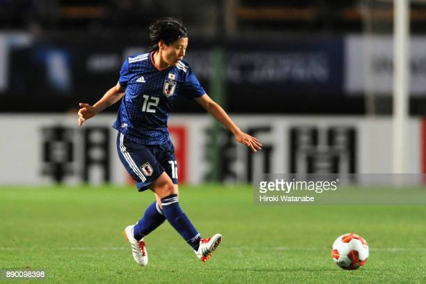 Hikaru Naomoto of Japan in action during the EAFF E-1 Women's Football Championship between Japan and China at Fukuda Denshi Arena on December 11,...