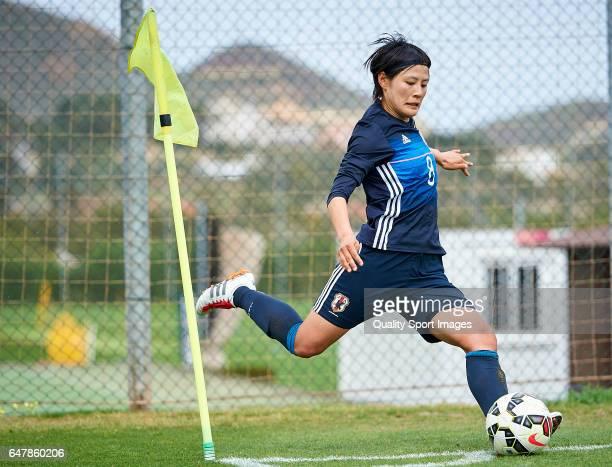 Hikaru Naomoto of Japan in action during the international friendly match between Japan Women U23 and Norway Women U23 at La Manga Club on March 4...