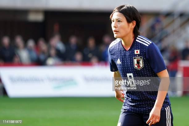 Hikaru Naomoto of Japan looks on during the Women's International Friendly match between Germany and Japan at Benteler Arena on April 09 2019 in...