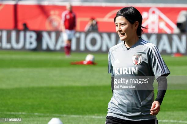 Hikaru Naomoto of Japan looks on during the Women's International Friendly match between Germany and Japan at Benteler Arena on April 09, 2019 in...