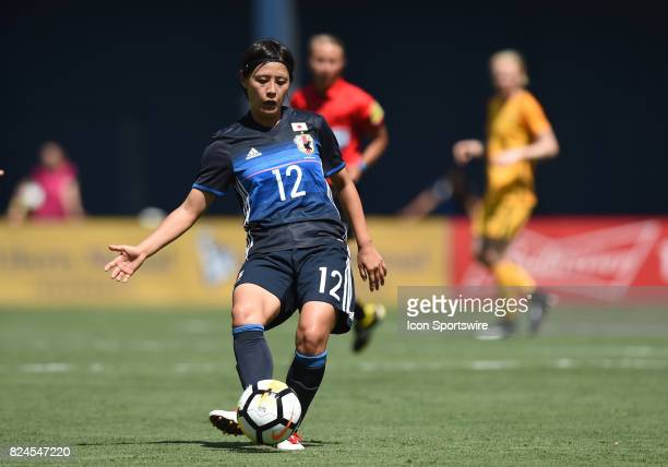 Hikaru Naomoto of Japan passes the ball during the Tournament of Nations soccer match between Japan and Australia on July 30 2017 at Qualcomm Stadium...