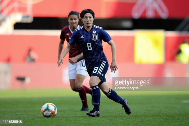 Hikaru Naomoto of Japan runs with the ball during the Women's International Friendly match between Germany and Japan at Benteler Arena on April 09,...