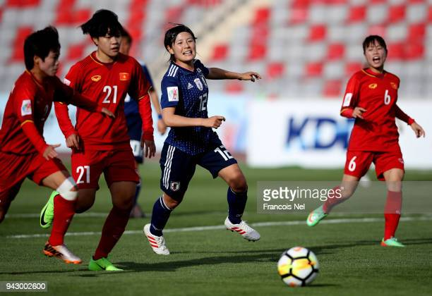 Hikaru Naomoto of Japan watches the ball during the AFC Women's Asian Cup Group B match between Japan and Vietnam at the King Abdullah II Stadium on...