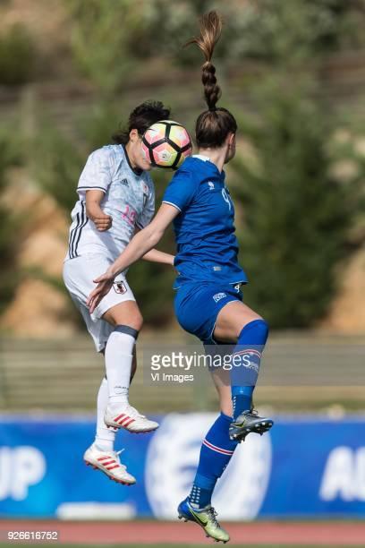Hikaru Naomoto of Japan women Katrín Ásbjörnsdóttir of Iceland women during the Algarve Cup 2018 match between Japan and Iceland at the Estadio...