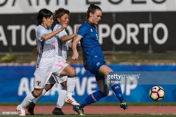 Hikaru Naomoto of Japan women Kumi Yokoyama of Japan women Katrín Ásbjörnsdóttir of Iceland women during the Algarve Cup 2018 match between Japan and...