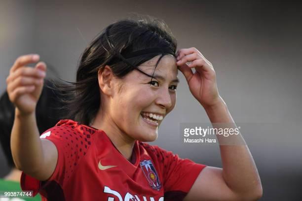 Hikaru Naomoto of Urawa Red Diamonds celebrates the win after the Nadeshiko League Cup Group A match between Urawa Red Diamonds and NTV Beleza at...