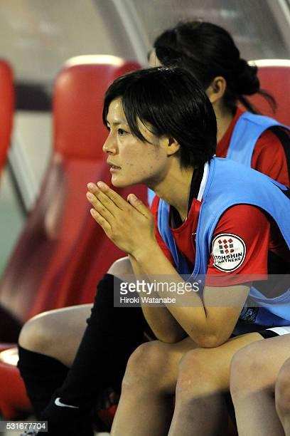 Hikaru Naomoto of Urawa Red Diamonds is seen on the bench during the Nadeshiko League match between Urawa Red Diamonds Ladies and JEF United Chiba...