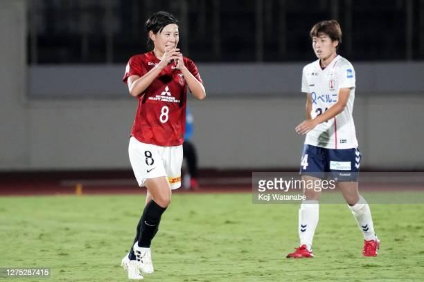 Hikaru Naomoto of Urawa Red Diamonds Ladies celebrates scoring her team's fourth goal during the Nadeshiko League match between Urawa Red Diamonds...
