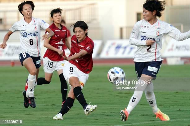 Hikaru Naomoto of Urawa Red Diamonds Ladies in action during the Nadeshiko League match between Urawa Red Diamonds Ladies and INAC Kobe Leonessa at...