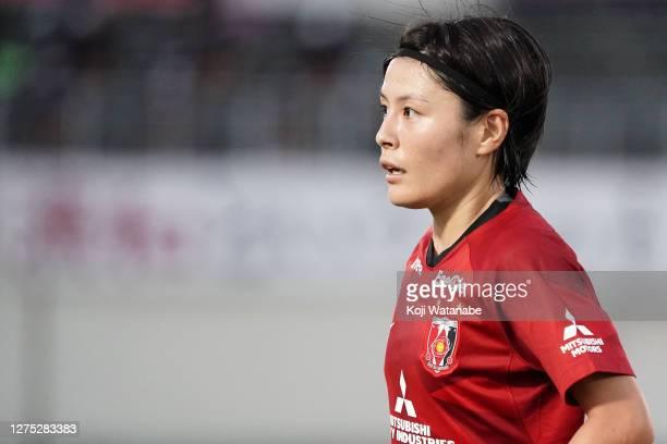 Hikaru Naomoto of Urawa Red Diamonds Ladies looks on during the Nadeshiko League match between Urawa Red Diamonds Ladies and INAC Kobe Leonessa at...