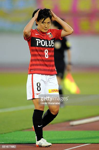Hikaru Naomoto of Urawa Red Diamonds walks off the pitch after being substituted during the Nadeshiko League match between Urawa Red Diamonds Ladies...