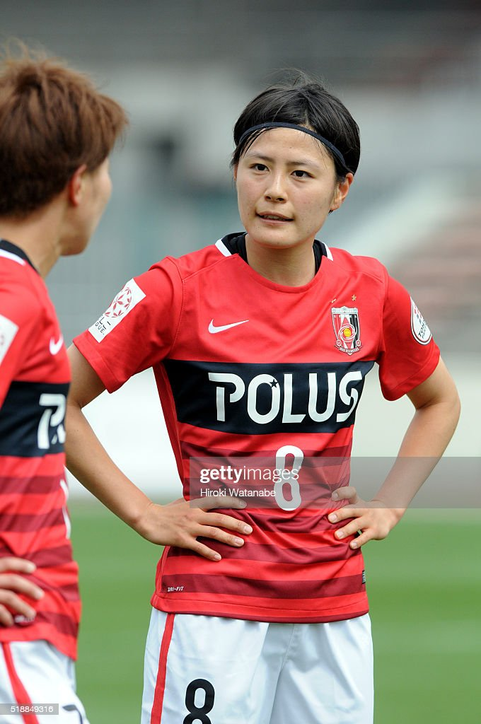 Hikaru Naomoto of Urawa Reds in action during the Nadeshiko League match between Urawa Red Diamonds Ladies and Albirex Niigata Ladies at the Saitama Komaba Stadium on April 3, 2016 in Saitama, Japan.