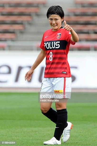 Hikaru Naomoto of Urawa Reds in action during the Nadeshiko League match between Urawa Red Diamonds Ladies and Albirex Niigata Ladies at the Saitama...