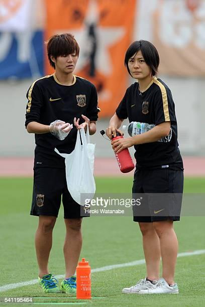Hikaru Naomoto of Urawa Reds is seen prior to the Nadeshiko League Cup Group B match between Urawa Red Diamonds Ladies and Albirex Niigata Ladies at...