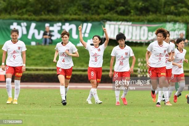 HIkaru Naomoto of Urawa Reds Ladies celebrates the first goal during the Nadeshiko League match between Nippon TV Tokyo Verdy Veleza and Urawa Red...