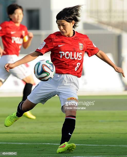 Hikaru Naomoto of Urawa Reds Ladies in action during the Nadeshiko League Exciting Series match between Urawa Red Diamonds Ladies and INAC Kobe...