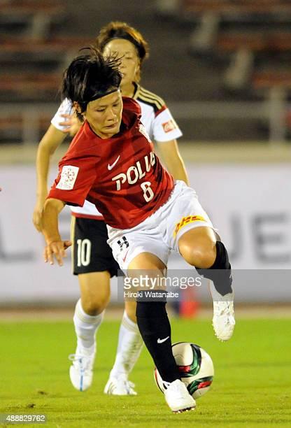 Hikaru Naomoto of Urawa Reds Ladies in action during the Nadeshiko League match between Urawa Red Diamonds Ladies and Okayama Yunogo Belle at Komaba...