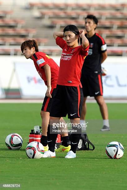 Hikaru Naomoto of Urawa Reds Ladies warms up prior to the Nadeshiko League match between Urawa Red Diamonds Ladies and Okayama Yunogo Belle at Komaba...