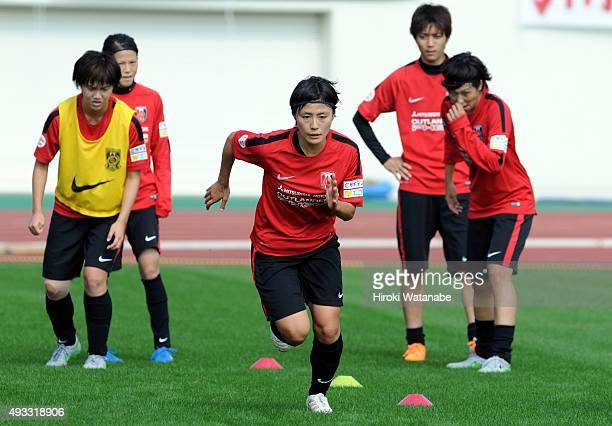 Hikaru Naomoto of Urawa Reds Ladies warms up prior to the Nadeshiko League match between Urawa Red Diamonds Ladies and NYV Beleza at Urawa Komaba...