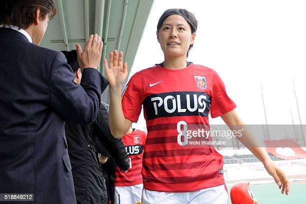 Hikaru Naomoto of Urawa Reds prepares prior to the Nadeshiko League match between Urawa Red Diamonds Ladies and Albirex Niigata Ladies at the Saitama...