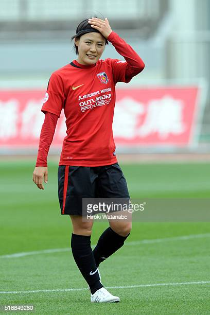 Hikaru Naomoto of Urawa Reds warms up prior to the Nadeshiko League match between Urawa Red Diamonds Ladies and Albirex Niigata Ladies at the Saitama...