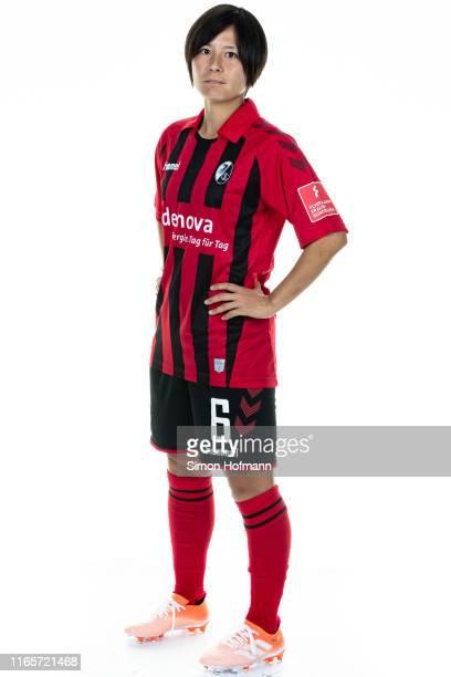 Hikaru Naomoto poses during the SC Freiburg Women's team presentation on July 31, 2019 in Freiburg im Breisgau, Germany.