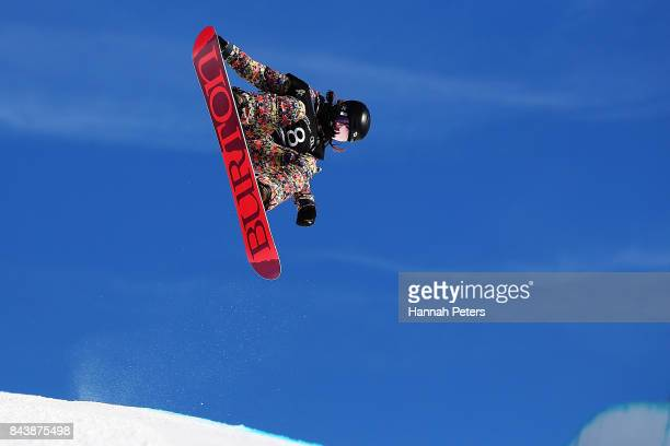 Hikaru Oe of Japan competes during the Winter Games NZ FIS Women's Snowboard World Cup Halfpipe Finals at Cardrona Alpine Resort on September 8 2017...
