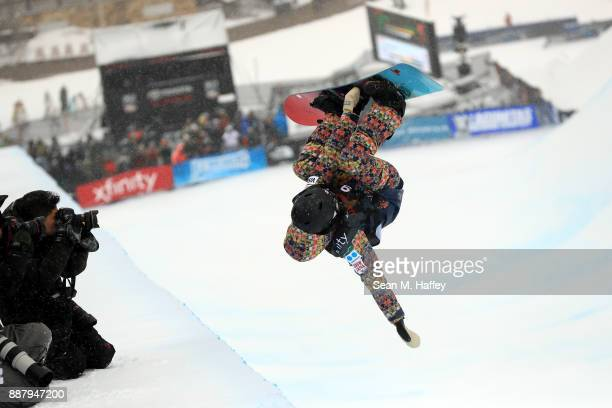 Hikaru Oe of Japan competes in a qualifying round of the FIS Snowboard World Cup 2018 Ladies' Snowboard Halfpipe during the Toyota US Grand Prix on...