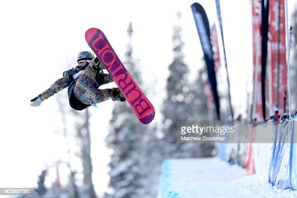 Hikaru Oe of Japan competes in qualifying for the Ladies' Snowboard Halfpipe final during the Toyota US Grand Prix on January 11 2018 in Snowmass...