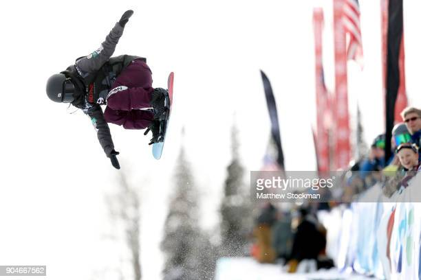 Hikaru Oe of Japan competes in the Ladies' Snowboard Halfpipe final during the Toyota US Grand Prix on January 13 2018 in Snowmass Colorado
