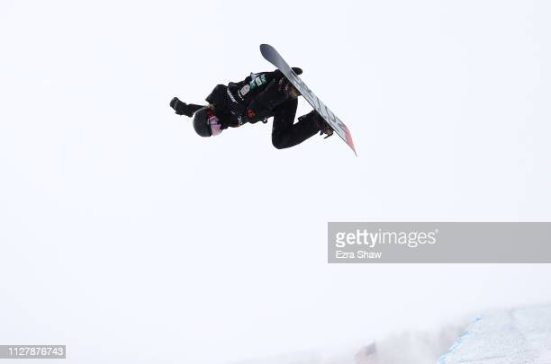Hikaru Oe of Japan competes in the Snowboard Halfpipe Qualification of the FIS Snowboard World Championships on February 06 2019 at Park City...