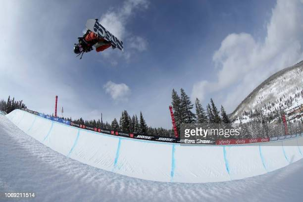 Hikaru Oe of Japan competes in the Snowboard Halfpipe Qualifiers for 2018 US Grand Prix at Copper Mountain on December 6 2018 in Copper Mountain...