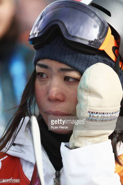 Hikaru Oe of Japan fails to qualify in the Snowboard Ladies' Halfpipe Qualification on day three of the PyeongChang 2018 Winter Olympic Games at...