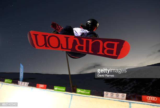 Hikaru Oe of Japan in training prior to the Women's Snowboard Halfpipe Final on day four of the FIS Freestyle Ski and Snowboard World Championships...