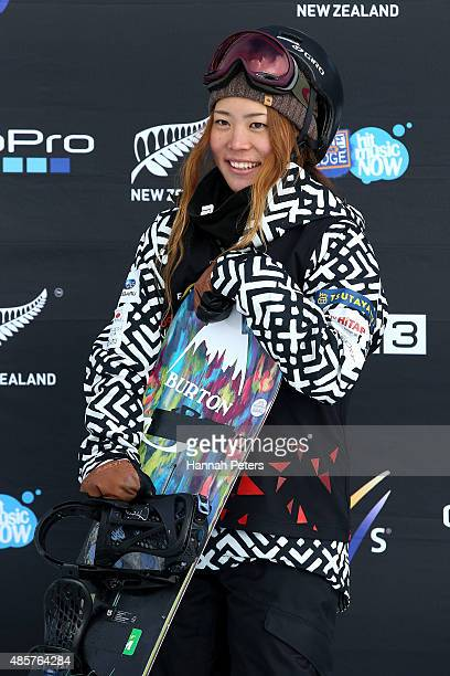 Hikaru Oe of Japan smiles in the FIS Snowboard World Cup Halfpipe Finals during the Winter Games NZ at Cardrona Alpine Resort on August 30 2015 in...