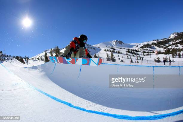 Hikaru Oe of Japan takes a practice run during the FIS Snowboard World Cup 2017 Ladies' Snowboard Halfpipe during the Toyota US Grand Prix at Mammoth...