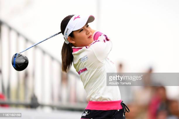 Hikaru Yoshimoto of Japan hits her tee shot on the 1st hole during the final round of Fujitsu Ladies at Tokyu Seven Hundred Club on October 20 2019...